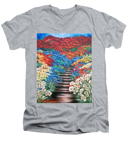 Men's V-Neck T-Shirt featuring the painting Garden Cascade by Sigrid Tune