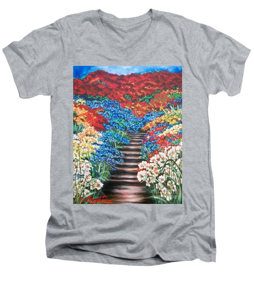 Red White And Blue Garden Cascade.               Flying Lamb Productions  Men's V-Neck T-Shirt