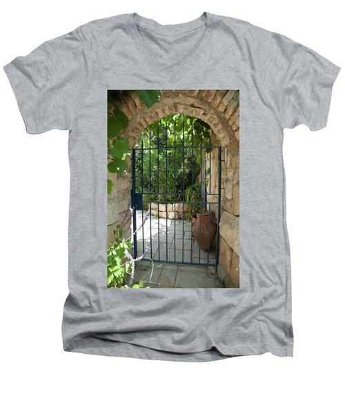 Garden Door Entrance Men's V-Neck T-Shirt by Yoel Koskas