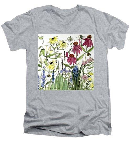 Garden Flowers With Bees Men's V-Neck T-Shirt