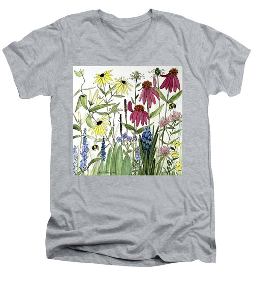 Garden Flowers With Bees Men's V-Neck T-Shirt