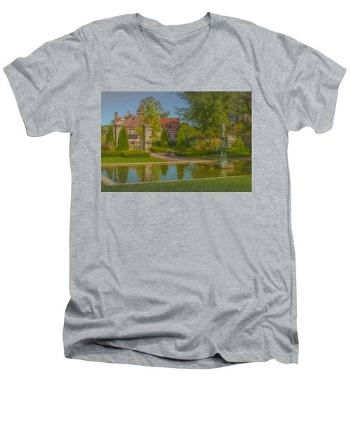 Garden Fountain At Ames Free Library Men's V-Neck T-Shirt