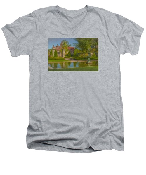 Garden Fountain At Ames Free Library Men's V-Neck T-Shirt