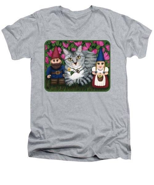 Garden Friends - Tabby Cat And Gnomes Men's V-Neck T-Shirt