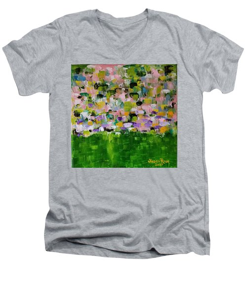 Men's V-Neck T-Shirt featuring the painting Garden Glory by Judith Rhue