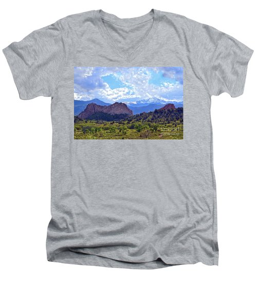 Garden Of The Gods Men's V-Neck T-Shirt by Catherine Sherman