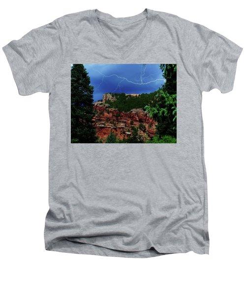 Men's V-Neck T-Shirt featuring the digital art Garden Of The Gods by Chris Flees