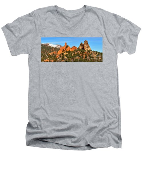 Men's V-Neck T-Shirt featuring the photograph Garden Of The Gods High Point Panorama by Adam Jewell