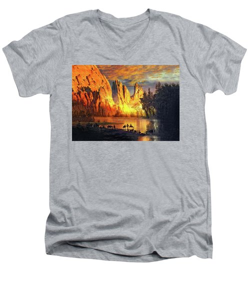 Garden Of The Gods Majesty At Sunset 2 Men's V-Neck T-Shirt by John Hoffman