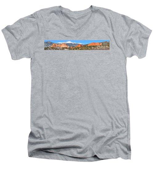 Men's V-Neck T-Shirt featuring the photograph Garden Of The Gods Spring Panorama by Adam Jewell