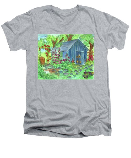 Men's V-Neck T-Shirt featuring the painting Garden Potting Shed by Cathie Richardson
