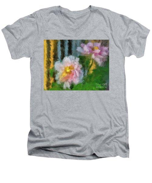 Men's V-Neck T-Shirt featuring the digital art Garden Variety by Lois Bryan