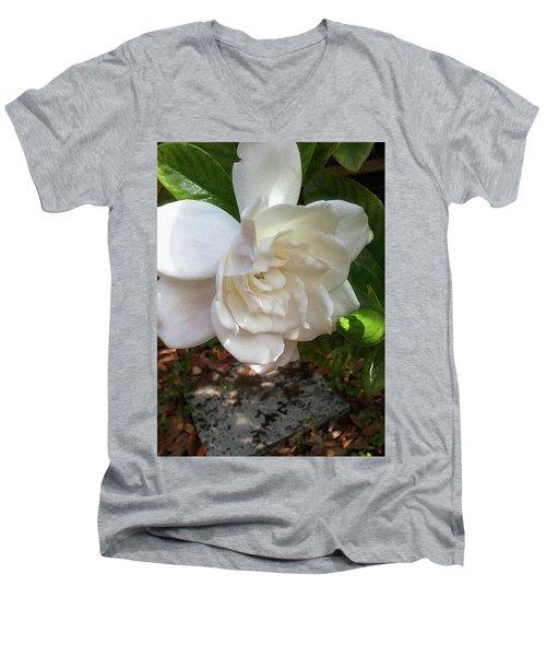 Men's V-Neck T-Shirt featuring the photograph Gardenia Blossom by Ginny Schmidt