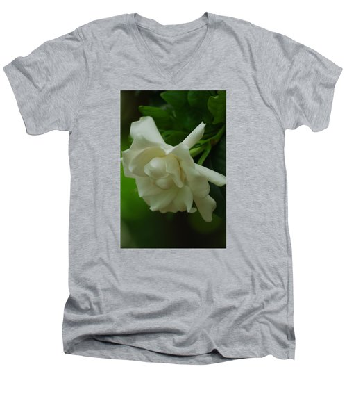 Men's V-Neck T-Shirt featuring the photograph Gardenia by Ramona Whiteaker