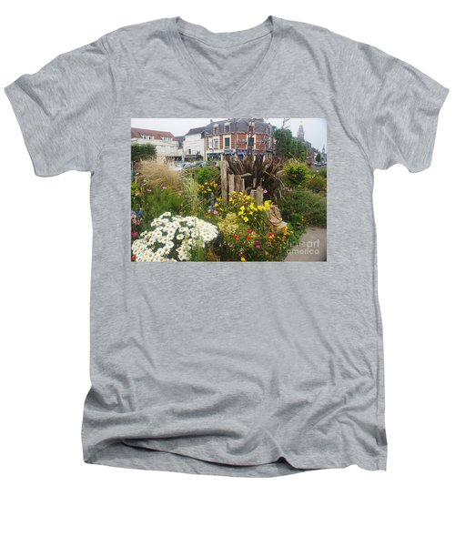 Men's V-Neck T-Shirt featuring the photograph Gardens At Albert Train Station In France by Therese Alcorn