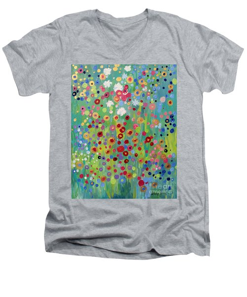 Men's V-Neck T-Shirt featuring the painting Garden's Dance by Stacey Zimmerman
