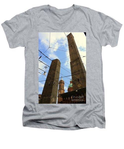 Garisenda And Asinelli Towers Men's V-Neck T-Shirt