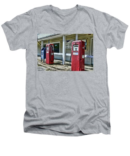 Men's V-Neck T-Shirt featuring the photograph Gas And Mail 1 by Paul Ward