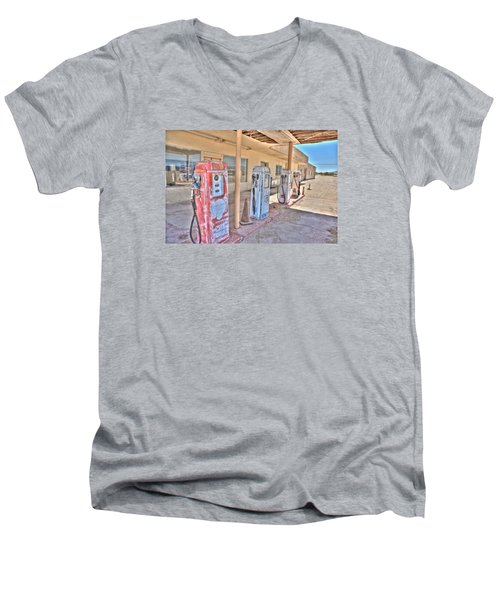 Men's V-Neck T-Shirt featuring the photograph Gas Pumps by Matthew Bamberg