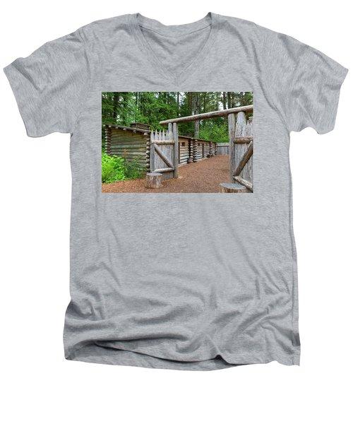 Gate To Log Camp At Fort Clatsop Men's V-Neck T-Shirt