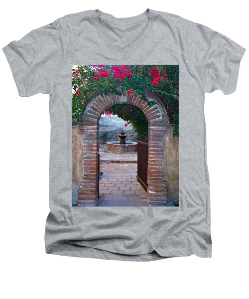 Gate To The Sacred Garden And Bell Wall Mission San Juan Capistrano California Men's V-Neck T-Shirt by Karon Melillo DeVega