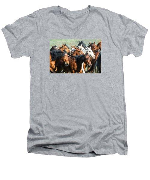 Gathering The Herd Men's V-Neck T-Shirt