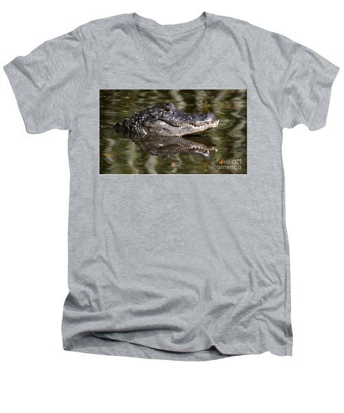 Men's V-Neck T-Shirt featuring the photograph Gator With Dragonfly by Myrna Bradshaw