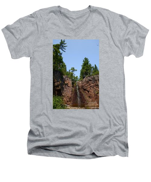 Men's V-Neck T-Shirt featuring the photograph Gauthier Falls In Late August by Sandra Updyke