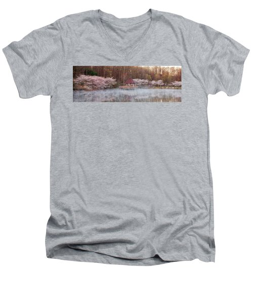 Gazebo And Cherry Trees Men's V-Neck T-Shirt