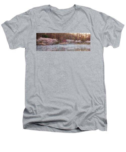 Gazebo And Cherry Trees Men's V-Neck T-Shirt