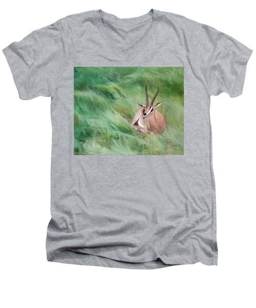 Men's V-Neck T-Shirt featuring the painting Gazelle In The Grass by Joshua Martin