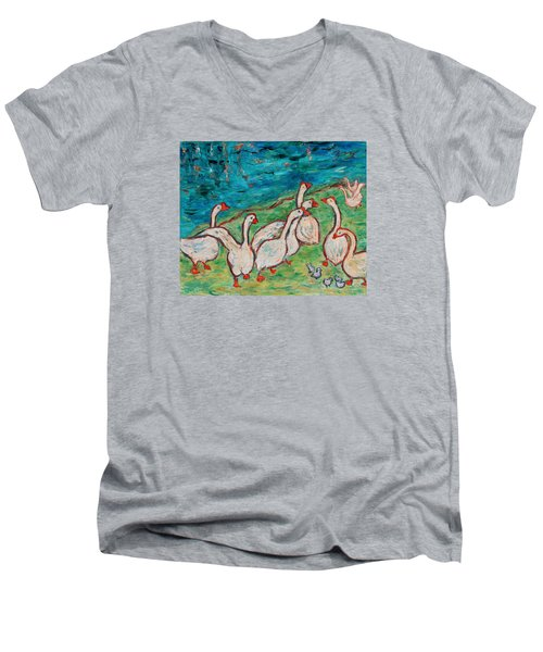 Men's V-Neck T-Shirt featuring the painting Geese By The Pond by Xueling Zou