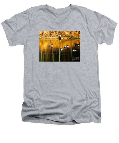 Geese On Lake Men's V-Neck T-Shirt