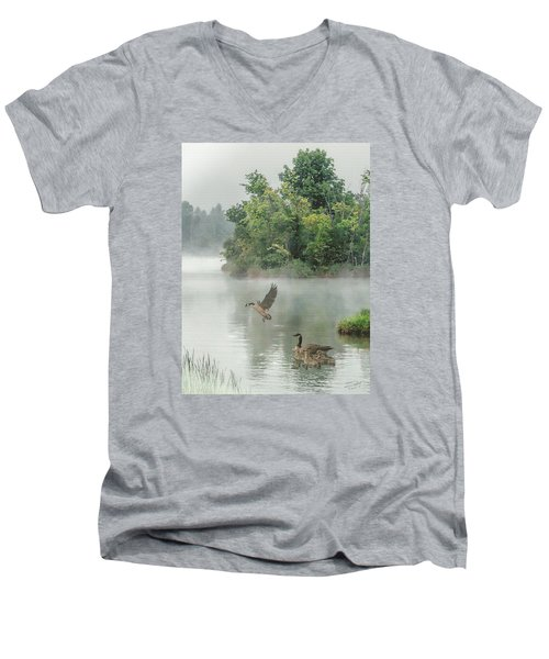 Geese On Misty Lake Men's V-Neck T-Shirt