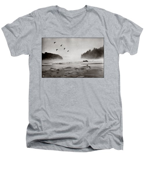Geese Over Great Bay Men's V-Neck T-Shirt