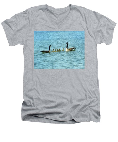 Men's V-Neck T-Shirt featuring the photograph Geese Proud Parents by Rockin Docks Deluxephotos