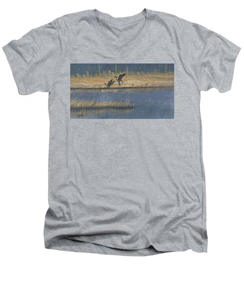 Men's V-Neck T-Shirt featuring the painting Geese by Richard Faulkner