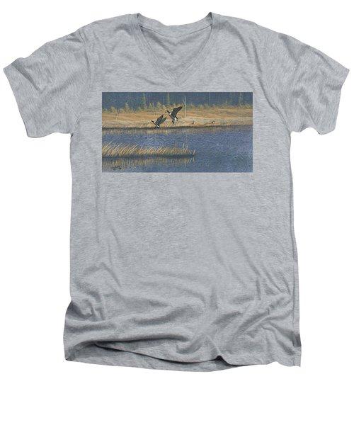 Geese Men's V-Neck T-Shirt by Richard Faulkner