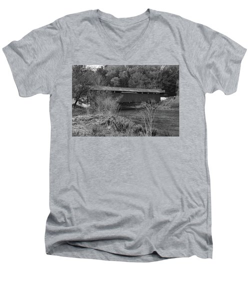 Men's V-Neck T-Shirt featuring the photograph Geiger Covered Bridge B/w by Jennifer Ancker