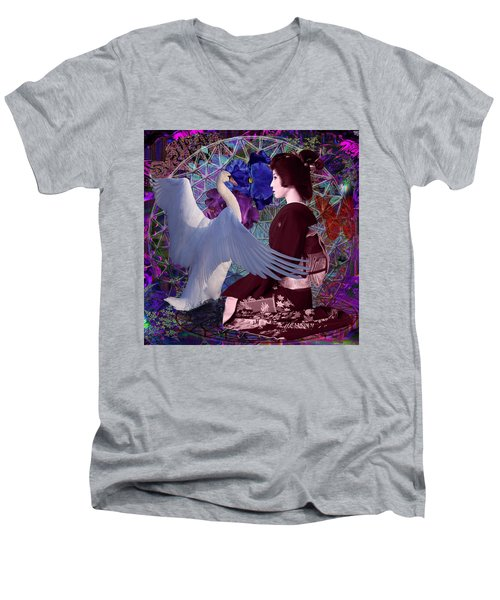 Geisha Swan Dance Men's V-Neck T-Shirt by Joseph Mosley