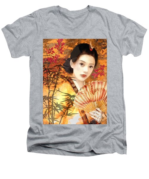Geisha With Fan Men's V-Neck T-Shirt
