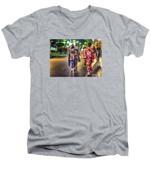 Men's V-Neck T-Shirt featuring the photograph Geishas In A Rush by Pravine Chester