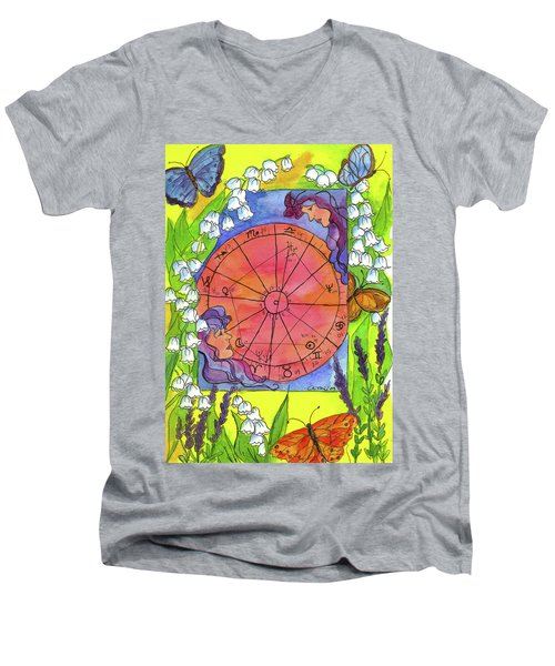 Men's V-Neck T-Shirt featuring the painting Gemini by Cathie Richardson
