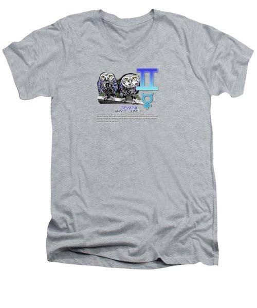 Gemini Sun Sign Men's V-Neck T-Shirt by Shelley Overton