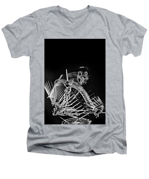 Men's V-Neck T-Shirt featuring the mixed media Gene Krupa by Charles Shoup