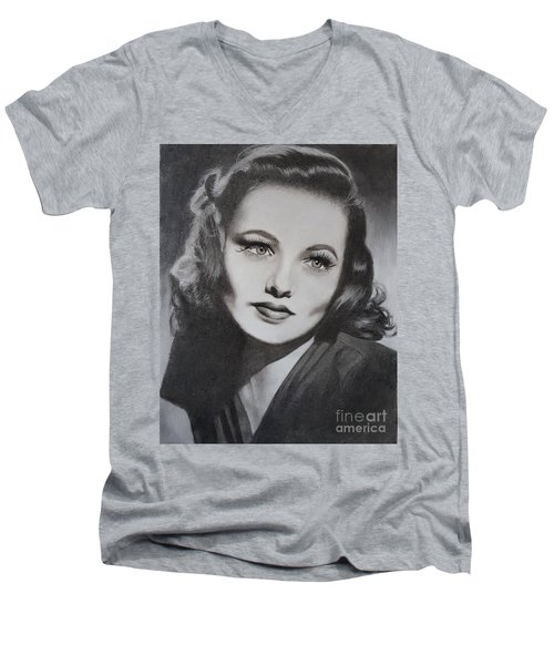Gene Tierney  Men's V-Neck T-Shirt