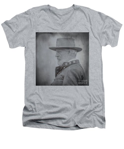 Men's V-Neck T-Shirt featuring the digital art General Robert E Lee Portrait  by Randy Steele