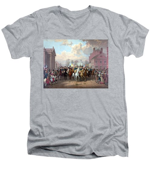 General Washington Enters New York Men's V-Neck T-Shirt