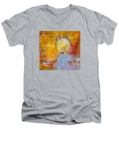 Men's V-Neck T-Shirt featuring the painting Genesis by Evelina Popilian