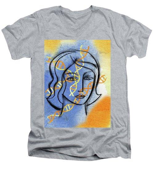 Men's V-Neck T-Shirt featuring the painting Genetics by Leon Zernitsky